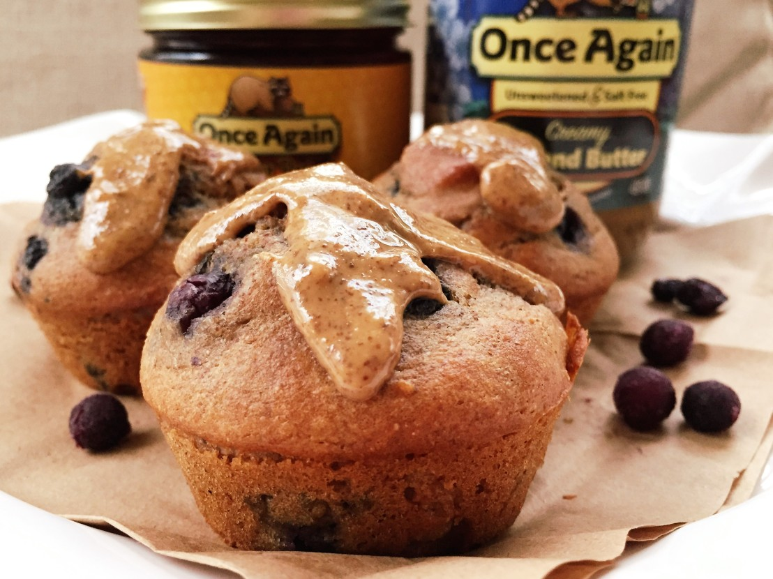 Almond Wild Blueberry Muffins -www.onceagainnutbutterblog.com