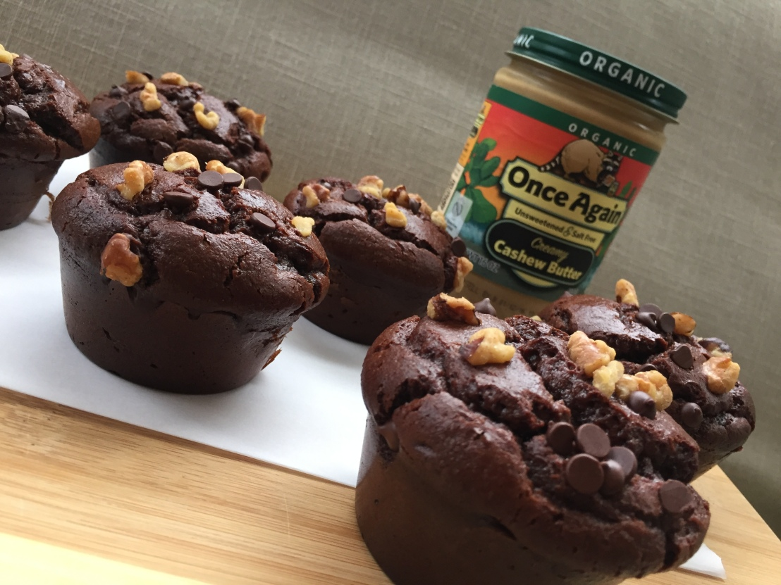 jumbo flourless chocolate muffins on onceagainnutbutterblog.com