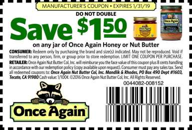 Once Again Nut Butter Coupon